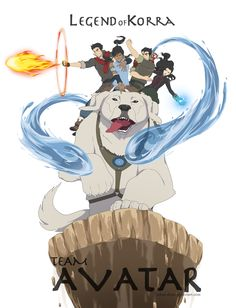Naga, the talented Polar Bear Puppy Dog, holding up Korra, Mako, Bolin, and Asami in Avatar, the Last Airbender--Legend of Korra.