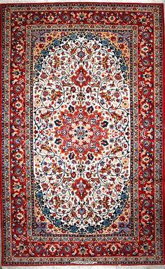 "Buy Esfahan Persian Rug 6' 7"" x 10' 10"", Authentic Esfahan Handmade Rug"