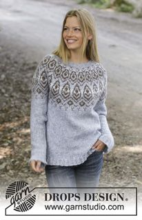 Winter heart / DROPS - free knitting patterns by DROPS design Knitted sweater in DROPS Nepal or DROPS Air. The piece is knitted from top to bottom with a Nordic pattern and round yok. Fair Isle Knitting, Loom Knitting, Free Knitting, Free Crochet, Drops Design, Nordic Pattern, Pull Jacquard, Icelandic Sweaters, Sweater Knitting Patterns
