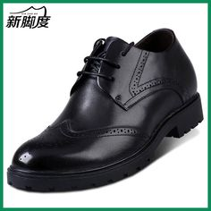 X7985 New Brand Men's Oxford Brogues Dress Leather Flat Shoes in Hidden Increaser Grow Man Taller 7cm Color Black/Brown