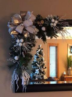 Christmas DIY Picture Frame Ideas for Decorating Your Space so that a Looks Festive -Use the little pink or red ornaments with coordinating ribbonsWhy You Should Let Your Kids Make Their Own Christmas Decorations – Get Ready for Christmas Rose Gold Christmas Decorations, Christmas Swags, Noel Christmas, Simple Christmas, Christmas Tree Decorations, Christmas Crafts, Christmas Ornaments, Mirror Decorations, Burlap Christmas