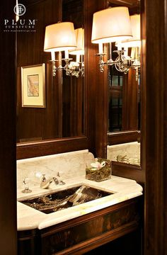 Mahogany Doors, Hardwood Floors, Bathroom by Colleen McGill of McGill Design Group www.