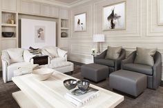The formerly dark space was transformed intoa clean,cream-colored oasis.