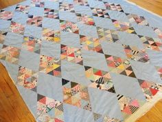 Antique c1930 Blue Diamond Quilt Top & Backing Ready to quilt! | eBay