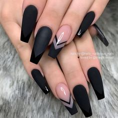 Super Trendy Acrylic Nails For Clear Nails With Flames. This mani features. - Super Trendy Acrylic Nails For Clear Nails With Flames. This mani features clear nails that a - Black Acrylic Nails, Black Coffin Nails, Coffin Shape Nails, Summer Acrylic Nails, Best Acrylic Nails, Acrylic Nail Designs, Summer Nails, Long Black Nails, Black Ombre Nails