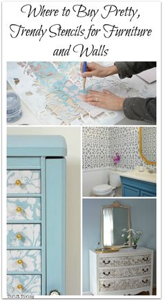 Where do you buy stencils for furniture and walls? These pretty, trendy stencils can be found here on 5 sites that sell awesome stencils! | Thrift Diving