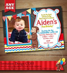 Curious George Invitation, Curious George Photo Invitation, Curious George Birthday Party Invitation, Monkey Invitation, DIY PRINTABLE on Etsy, $10.00