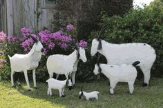 Old Tin Art Farm Goats for Yard Decorations