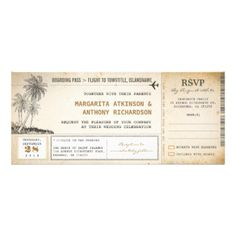 "old aged vintage boarding pass - flight wedding invitation tickets with RSVP together. Simply beautiful palm trees design. I suggest the ""Linen"" or ""Felt"" paper for this design. thank you beach palms vintage photo cards by jinaiji boarding pass tickets for save the date custom announcement by jinaiji beach palms vintage boarding pass save the date by jinaiji beach palms wedding thank you stickers by jinaiji postage stamps with palm trees by jinaiji palm trees wedding address labels by ..."