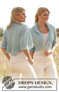 "Knitted DROPS bolero with ¾ sleeves and cable edges in ""Vivaldi"". SIZE S - XXXL ~ DROPS Design"