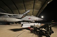 Op SHADER, RAF Tornado GR4 awaits another paveway IV to be loaded, RAF Akrotiri, Cyprus, September 2014.