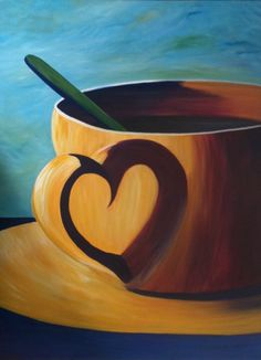 Coffee cup heart reflection original acrylic spoon canvas 36 in x 48 in Wine And Canvas, Ouvrages D'art, Canvas Art, Coffee Painting Canvas, Acrylic Artwork, Easy Paintings, Coffee Cups, Coffee Shop, Painting Inspiration