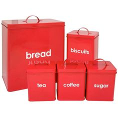 Wilko Kitchen Storage Set Red 5 Piece ($31) ❤ liked on Polyvore featuring home, kitchen & dining, food storage containers, kitchen, red breadbox, red cookie jar, red bread box and bread storage bin