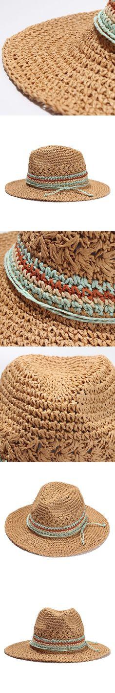 Women Summer Panama Sun Hats Fashion Color Block Straw Beach Hats For Holiday Ladies Casual Travel Caps Chapeau Femme #HatsForWomenSummer