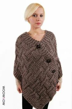 Different Easy Knitting Poncho Making , Poncho Knitting Patterns, Easy Knitting, Loom Knitting, Knit Patterns, Knitting Tutorials, Poncho Shawl, Knitted Poncho, Crochet Shawl, Knit Crochet