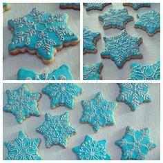 Teal Blue Snowflake Cookies