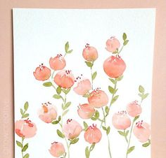 Original Watercolor Peach Floral Painting by Elise Engh Watercolor Projects, Watercolor Cards, Watercolor Print, Watercolour Painting, Watercolor Flowers, Floral Illustrations, Botanical Illustration, Watercolor Illustration, Guache