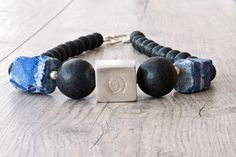 Black Lava Necklace, Big Bold Chunky Necklace with Lava Stone & Raw Blue Lapis Lazuli, One-of-A-Kind Statement Necklace, Lava Jewelry Greek Jewelry, Amber Jewelry, Lava Bracelet, Beaded Bracelet, Unique Necklaces, Chunky Necklaces, Chunky Jewelry, Statement Jewelry, Unique Gifts For Her