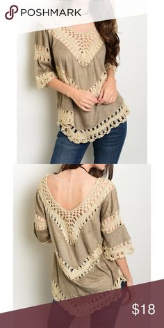 ❗️CLEARANCE❗️Mocha Ivory Crochet Tunic Top S M L Perfect for fall!! Mocha and ivory crochet tunic top, 100% Polyester.  Available in size small, medium, or large.  No Trades, Price Firm unless Bundled.  BUNDLE 3 OR MORE ITEMS FOR 15 % OFF. Boutique Tops Tunics