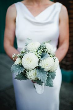 Rustic Elegant Wedding in Seattle Mums, baby's breath and sage make for a beautiful winter wedding b Simple Wedding Bouquets, Simple Elegant Wedding Dress, Winter Wedding Flowers, Rustic Wedding Dresses, Bride Bouquets, Wedding Ideas, Flower Bouquets, Purple Bouquets, Teal Flowers