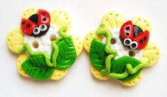 Button Twin Ladybugs handmade polymer clay by digitsdesigns