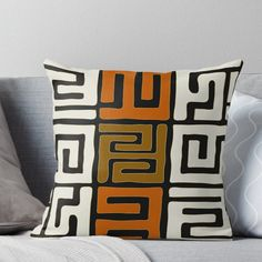 Super soft and durable spun polyester Throw pillow with double-sided print. Cover and filled options. Throw Pillows Bed, Designer Throw Pillows, Decorative Throw Pillows, African Textiles, African Fabric, African Art, African Themed Living Room, African Bedroom, African Home Decor
