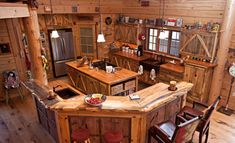 16 Amazing Log House Kitchens You Have to See - Hick Country