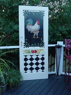 Would be a great pantry door! Hand-painted Rooster Door ( For our pantry doors ..roosters upper doors ...design lower doors )