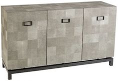 London Interiors Shagreen Leather and Steel Cabinet - 3 Door