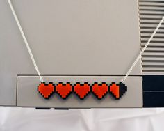 Heart Health Bar Acrylic Plastic Necklace - minecraft / zelda etc. $15.00, via Etsy.