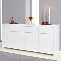 Windsor sideboard in white high gloss with 4 drawers and 4 doors, it makes a stunning impression in any modern home decor - 31396 dining room sideboard, modern & contemporary. In wood oak, grey, white high gloss with led. Solid Oak Sideboard, Dining Room Sideboard, Large Sideboard, Sideboards For Sale, Glass Cabinet Doors, Kitchen Flooring, Living Room Designs, Kitchen Remodel, High Gloss