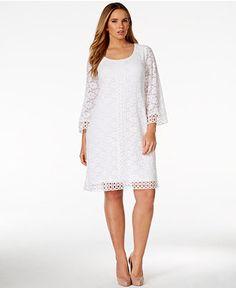 Alfani Plus Size Crochet-Trim Lace Dress, Only at Macy's - Dresses - Plus Sizes - Macy's