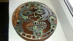 metal wall decor, art, aztec mask, handcraft patina