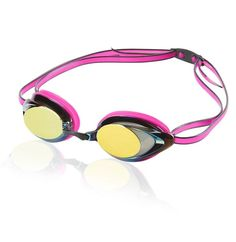 Speedo Vanquisher 2.0 Mirrored Swim Goggles: Pink goggles for swimming with UV protection and anti-fog elements to gear up for your open water swim triathlon training or water fitness pool workout with style and performance!