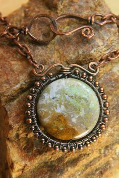 Copper Wire Wrapped Jasper Focal Stone by AllowingArtDesigns