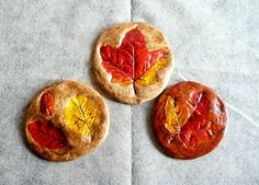 fall kids crafts--salt dough leaf prints--could turn these into rustic windchimes!