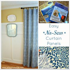 No Sew Curtain Panels Tutorial - artsychicksrule.com #nosew