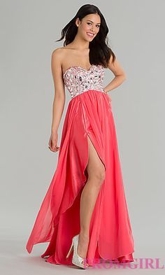 Strapless Gown with Slit Skirt at PromGirl.com
