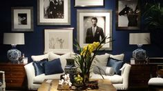 Fabulous Navy Blue Living Room Classic Look Navy Walls With Black Amp White Photos And Metal