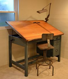Maybe make drafting table from antique desk…lots of wood.-Vintage Industrial Tilt Top Drafting Desk / Drawing by dwellbeing