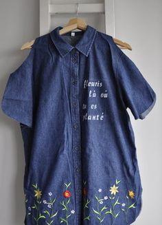 Kup mój przedmiot na #vintedpl http://www.vinted.pl/damska-odziez/koszule/18497230-koszula-dzins-jeans-wyciecia-na-ramionach-haft-kwiaty-surowe-wykonczenia-l-xl-denim-diy