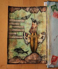 """Art Journal by *Silkku* """"Three life stages"""" silkkus.blogspot.fi Art Journal Pages, Vintage World Maps, Handmade, Life, Hand Made, Craft, Handarbeit"""