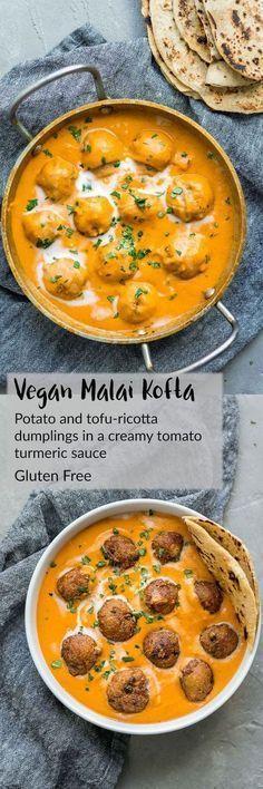 Vegan Malai Kofta: Indian Dumplings In A Curry Tomato Cream Sauce A Vegan And Na. - Vegan Malai Kofta: Indian Dumplings In A Curry Tomato Cream Sauce A Vegan And Naturally Gluten Free - Veggie Recipes, Indian Food Recipes, Vegetarian Recipes, Cooking Recipes, Healthy Recipes, Diet Recipes, Vegan Indian Food, Snacks Recipes, Health Food Recipes