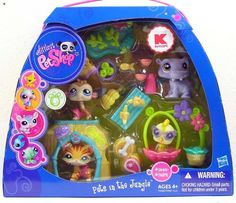 Littlest Pet Shop Exclusive Figures Themed Playset Pets In The Jungle by hasbro. $22.78. Includes bannanas and other food and accessories to keep them happy!. Exclusive set of jungle pets released to Kmart stores.. For ages 4+. Hippo #1449 ~Monkey #1450 ~Tiger #1451 ~ Bird #1452. PETS IN THE JUNGLE! Includes 4 pets plus accesories!. Hard to find exclusive set found in limited quantities!