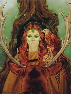Flidais, Celtic Goddess of the Woodlands. As goddess of animals and the hunt she is sometimes compared to the Roman Diana and the Greek Artemis.