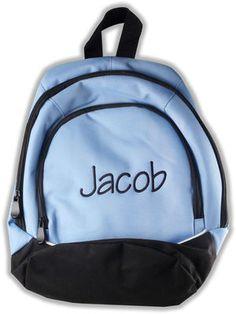 Columbia Blue Monogrammed Tri Color Backpack