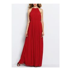 SheIn(sheinside) Wine Red Evening Sleeveless Halterneck Pleated... (230 EGP) ❤ liked on Polyvore featuring dresses, gowns, red, red evening dresses, red cocktail dress, red ball gown, red gown and red halter dress