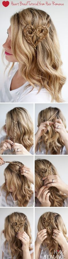 Valentine& Hair - Heart Braid Tutorial from Hair Romance Valentine's Day Hairstyles, Bridal Hairstyles With Braids, Bridal Braids, Braided Hairstyles Tutorials, Pretty Hairstyles, Braid Hairstyles, Braid Tutorials, Latest Hairstyles, Hairstyle Ideas