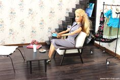 Doll Mid Century Chair in 1/6 scale with removable cushions.