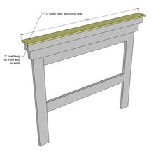 """Shopping List: 5 – @ 8 feet or stud length 1 – @ 8 feet long 1 – @ 8 feet long 1 – @ 8 feet long 1 sheet of ¼"""" plywood 3 – sticks of moulding in sizes (see last step) Optional moulding on center panel […] Mantle Headboard, Headboard With Shelves, How To Make Headboard, Furniture Plans, Diy Furniture, Dentil Moulding, Headboard Designs, Diy Headboards, Farmhouse Bedroom Decor"""